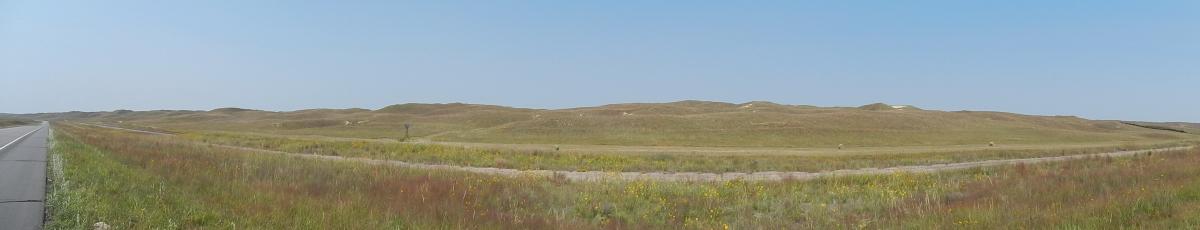 Sandhügel mit Gras bedeckt